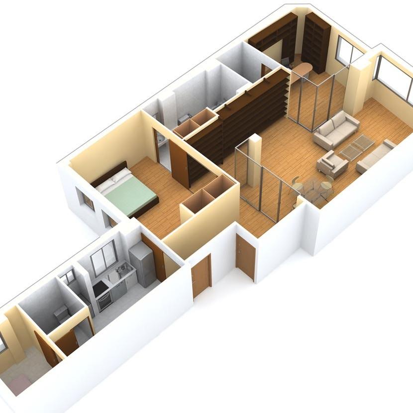 reforma de vivienda para discapacitado · vista 3D · arquible